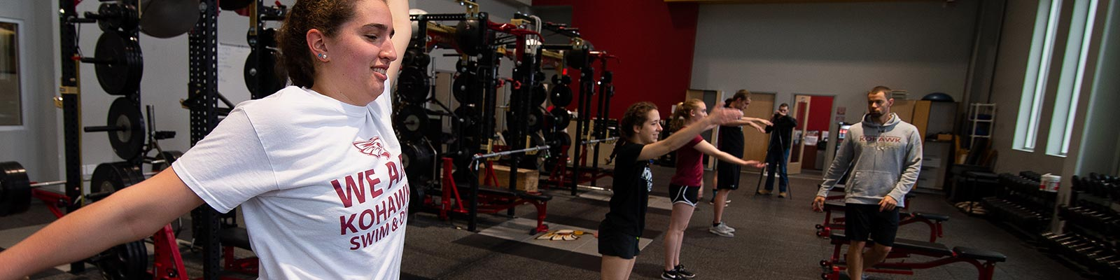 Students working out in fitness center