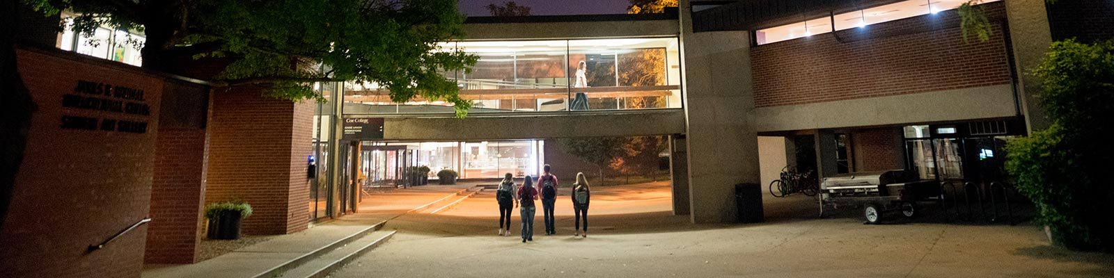 Students walking outside of Gage Memorial Union
