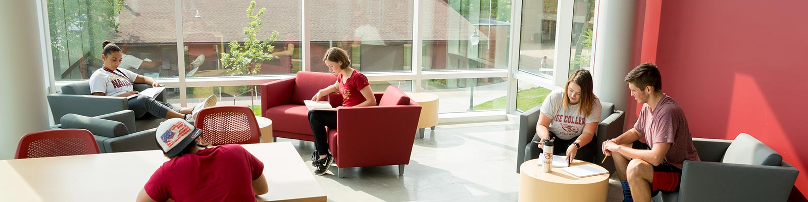 Coe students studying in a gathering space