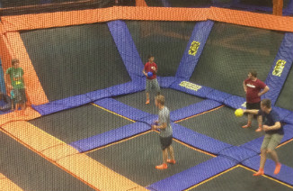 Students at trampoline park