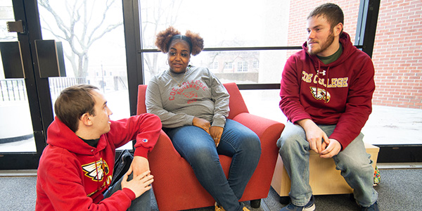 Students gathered in a campus lounge