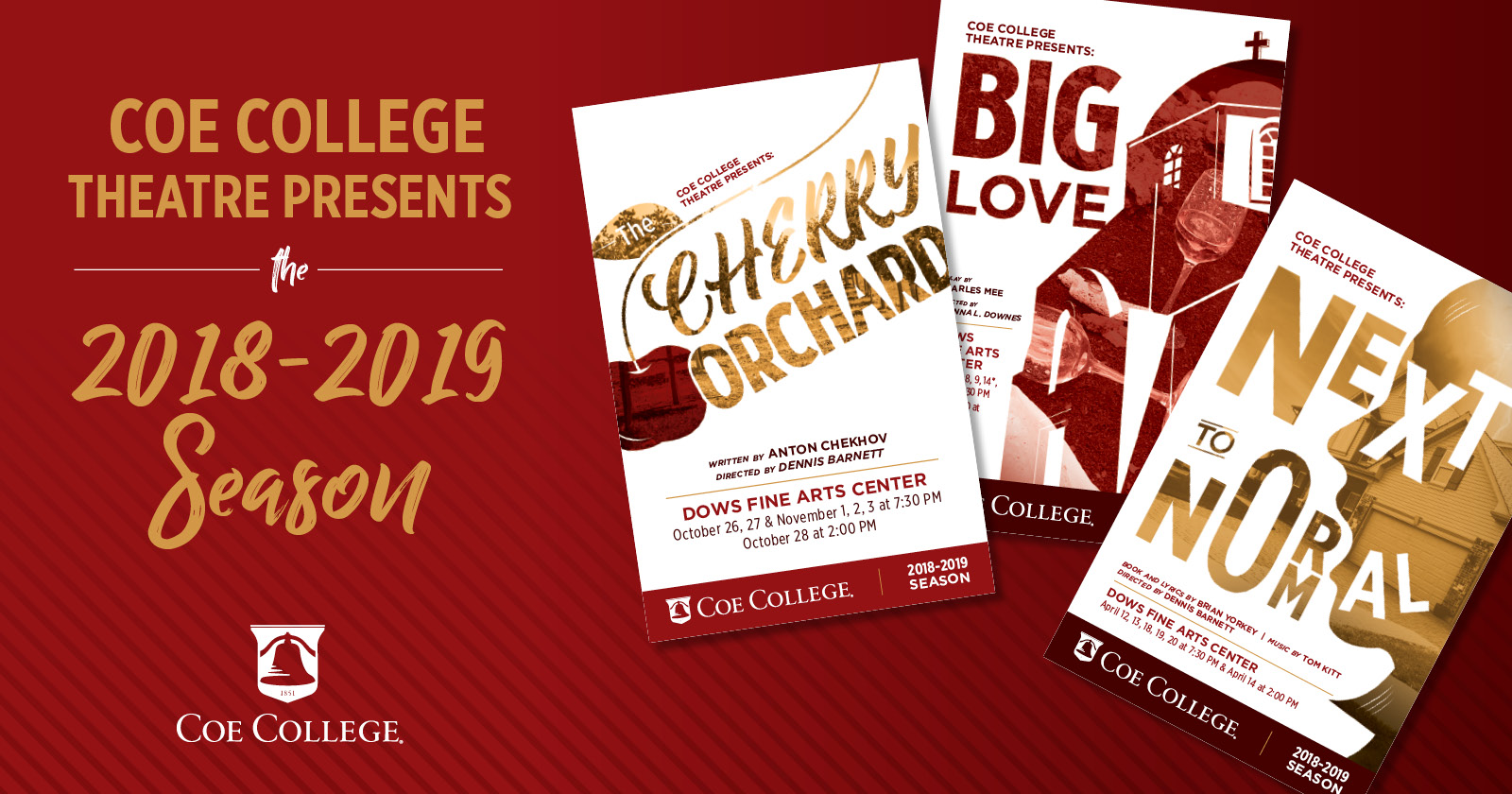 Coe College Theatre presents a tragicomedy, arranged marriage and award-winning musical in its 2018-19 lineup