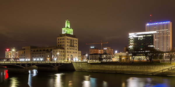 Cedar Rapids skyline at night