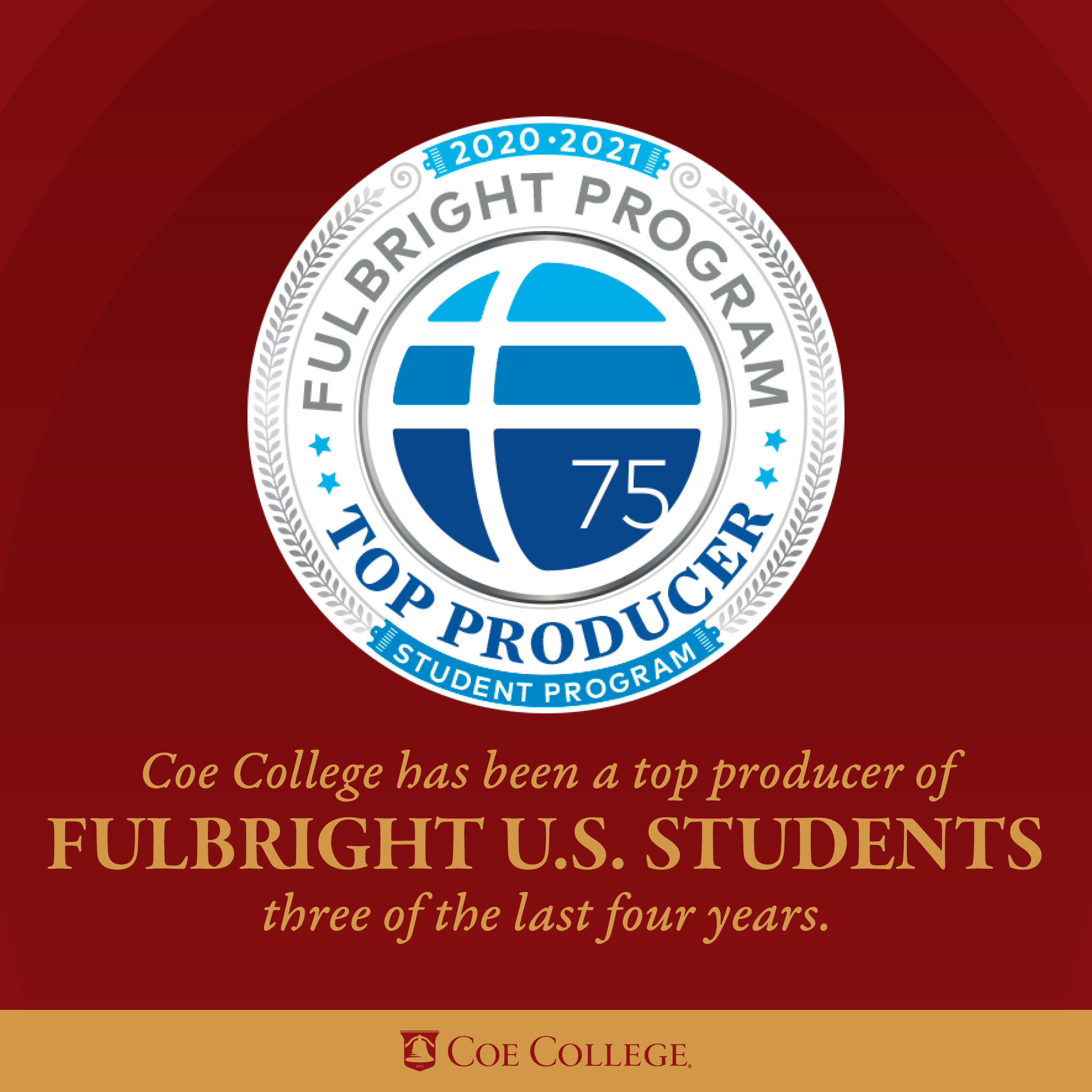 Coe College again named a top producer of Fulbright U.S. students