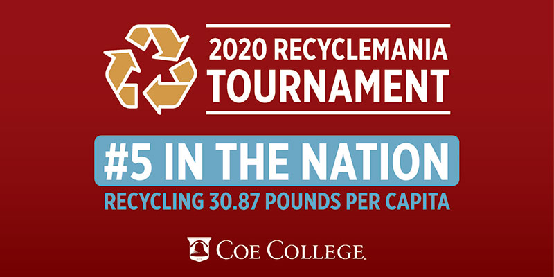 Graphic that says 2020 RecycleMania Tournament #5 in the nation, recylcing 30.87 pounds per capita