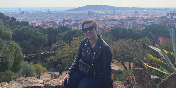 A student is pictured at Gaudi's Parque Güell while studying abroad in Spain.