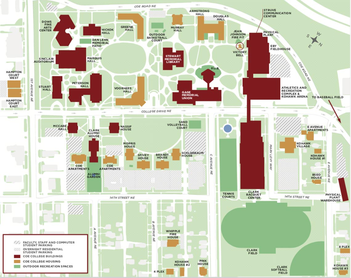 Coe College Campus Map