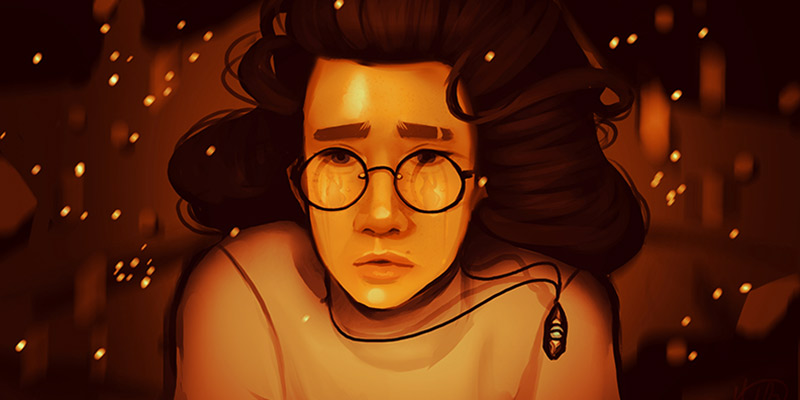 Original artwork of a girl with glasses and twinkling lights