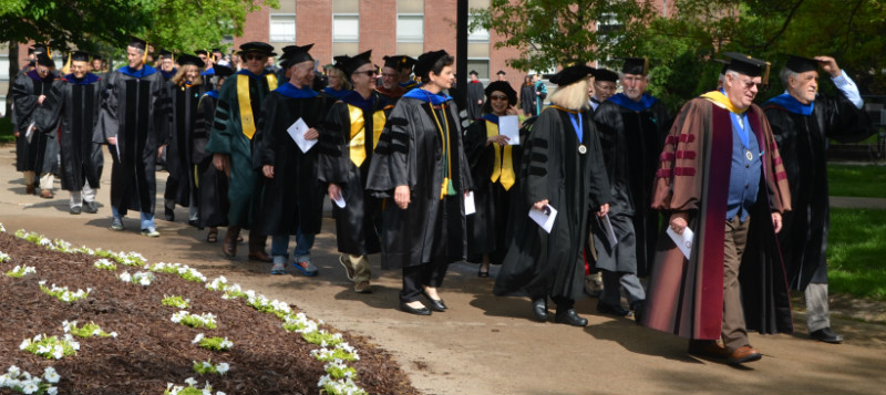Faculty members parading in for Commencement