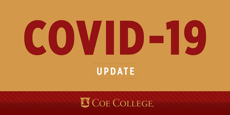 Crimson and gold graphic that says COVID-19 update